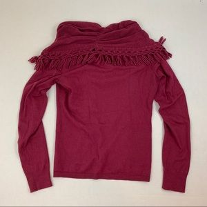 Anthropologie Sweaters - Anthro Angel of the North Fringe Cowl Neck Sweater